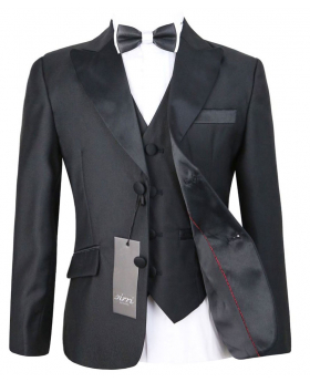 Boys Black Peak Lapel Tuxedo Jacket and waistcoat with accessories front open picture