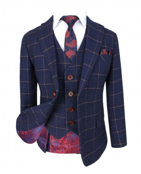 Boys Exclusive Dark Blue Gold Slim Fit Windowpane Check Suit with Jacket, waistcoat, tie and hanky