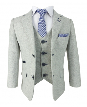 Page Boys Slim Fit Creon Previs Wool Mix Light Grey Suit
