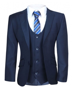 Front vie of the Boys Navy Blue Tailored Fit Suit