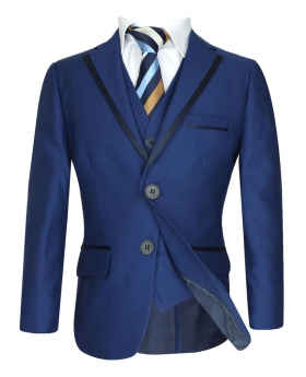 Boys Navy Blue Piping Suit