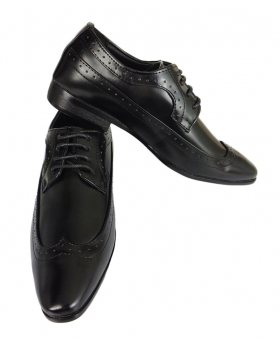 Romano Vianni Black Pointed Brogue Shoes