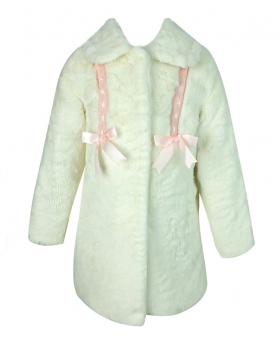 Designer Babies / Girls Ivory Faux Fur Coat with Cossack Hat
