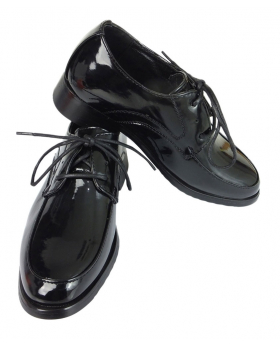 Designer Boys Black Patent Lace up Shoes