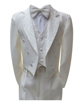 Boys Ivory Tuxedo Tail Suit 5 Pieces Christening Wedding Page Boy Outfit