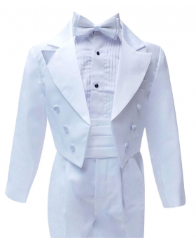 Beau KiD Baby and Boys 5 Piece White Tuxedo Tail Suit