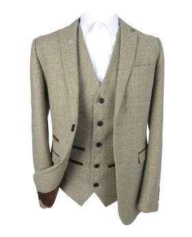 Front view of the Boys' Tweed Check Tailored Fit 3 Piece Suit in Beige