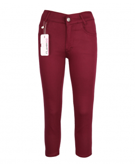 Burgundy Casual Stretch Boys Chino Pants