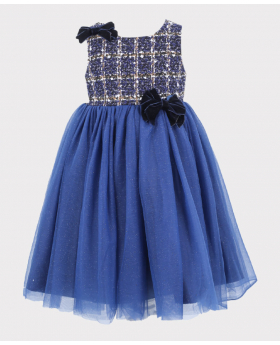 Girls Tweed Puffy Tailored Fit Dress in Navy Blue
