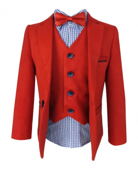Beau KiD Boys Soft Suede Felt 4 Piece Red and Blue Suit Set with Elbow Patches