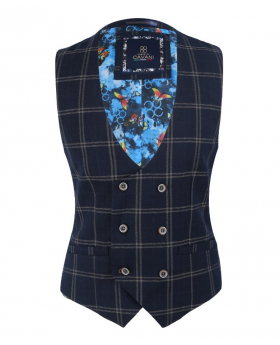 Men's Hardy Navy Blue Vintage Tweed Check Double breasted Waistcoat