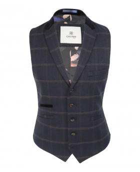 Men's Connall Navy Blue Slim Fit Retro Tweed Check Waistcoat