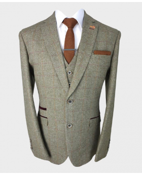 View of the Jacket, waistcoat, shirt and tie of the Men's Gaston Sage Slim Fit Herringbone Tweed Retro Vintage Suit