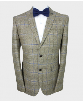 Front iew of the Paul Andrew Men's Tailored Fit Check Tweed Blazer in Beige with shirt and bow tie