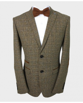 Front view of the Paul Andrew Men's Tailored Fit Brown Tweed Blazer with Elbow Patches with shirt and bow tie