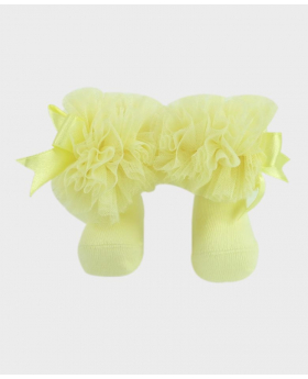 Baby Girls Ruffle Bow Yellow Ankle Socks Pair