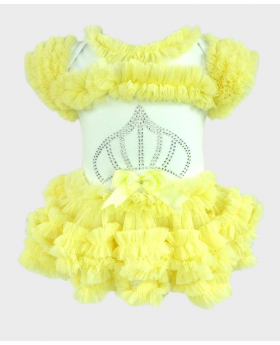 Baby Girl Tulle Cotton Bodysuit in Lemon Yellow