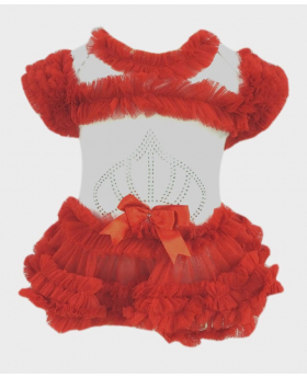 Baby Girl Tulle Cotton Bodysuit in Red