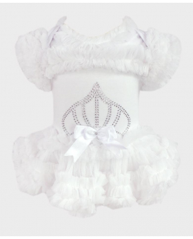 Baby Girl Tulle Cotton Bodysuit in White