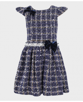 Girls Tweed Check Tailored Fit Dress in Navy Blue