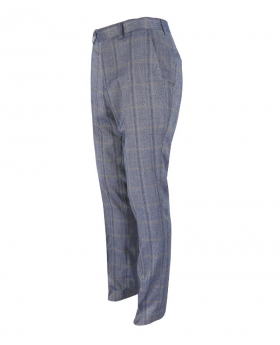 Mens Connall Blue Slim Fit Tweed Check Trousers