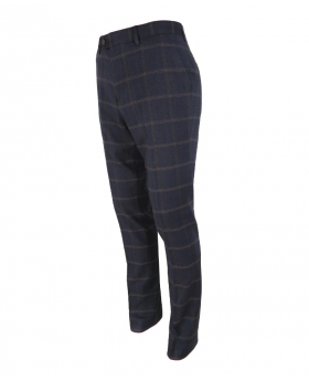 Right side view of the Men's Slim Fit Tweed Check Trousers Connall Navy Blue
