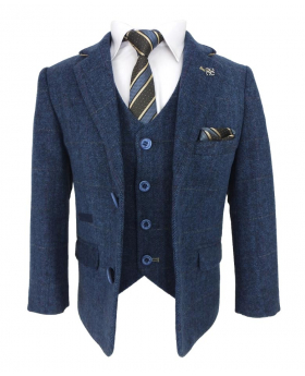 Cavani Mens & Boys Navy Blue Wool Blend Herringbone Check Tweed Suit