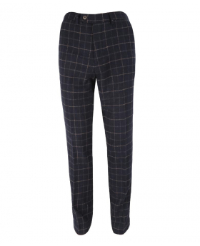 Men's Shelby Navy Blue Slim Fit Check Tweed Retro Trousers