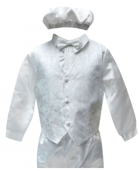 Baby Boys All In One White Christening Suit Set