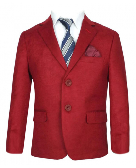 Burgundy Faux Suede Jacket For Boys