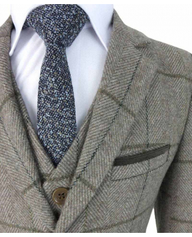 Beau Kid Boys Brown Wool Mix Tweed Suit with Elbow Patches with Jacket, waistcoat, shirt and blue tie detail