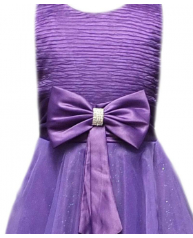 Girls Flower Girl Purple Wedding Dress With Big Bow Bridesmaid Prom Party Dresses