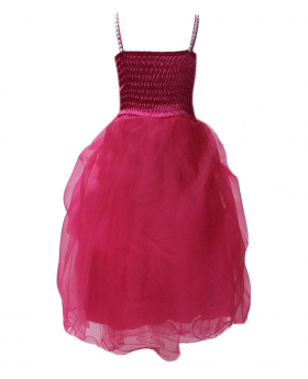DAZZLING HOT PINK FUCHSIA FLOWER GIRL DRESSES, RUFFLED PROM WEDDING PARTY DRESS