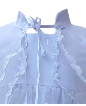 Baby Girls Designer White Christening Gown & Bonnet Embroidered Baptism Dress
