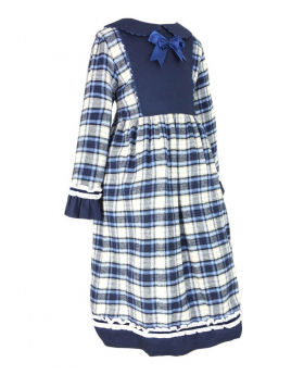 Side view of the tartan dress for girls of the Beau Kid Baby Girls Blue Tartan Cotton Dress