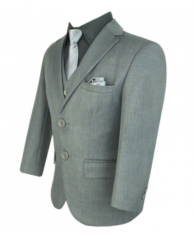 Side view of the Blazer jacket from the Boys Suit All in One Formal Grey 6 piece Suit Set