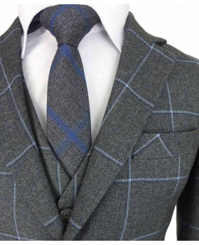 Boys Exclusive Grey and Blue Windowpane Slim Fit Check Suit kids jacket, waistcoat, shirt and tie detail view