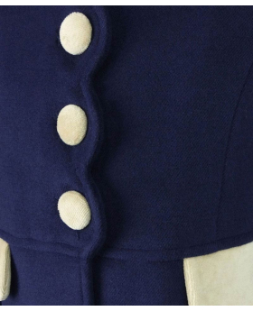 View of the buttons from the Designer Girls Navy Blue Coat and Hat Set