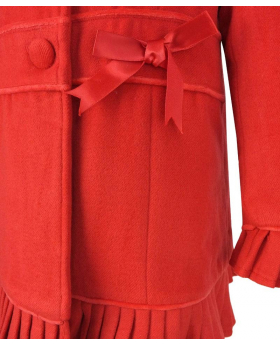 Designer Girls Red Coat with Detachable Fur Collar and Hat Set