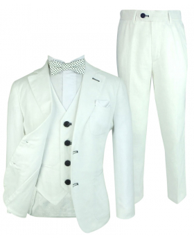Boys White Linen Wedding Page Boy Suit