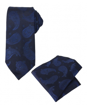 Boys & Men Paisley Formal Dress Suit Tie and Hanky Set in Navy for Special Occasion