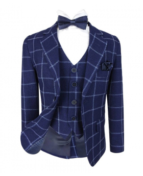 Boys Modern fit Check jacket and waistcoat in Navy Blue front open picture