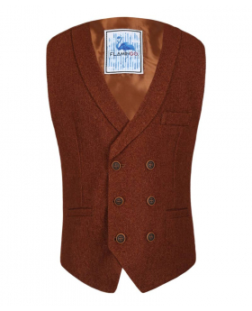 Flamingo Mens Boys Cinnamon Brown Herringbone Tweed Waistcoat Sets