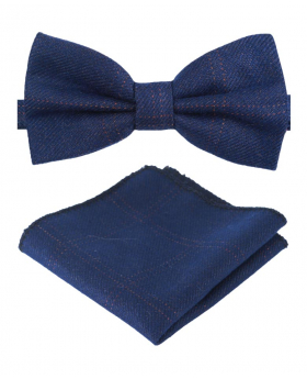 Boys Mens Tweed Check Dickie Bow Tie Set in Navy Blue front picture