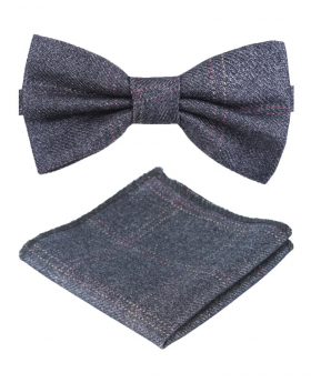 Boys Mens Tweed Check Dickie Bow Tie in Charcoal Grey