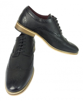 Front and side view of the Mens Signature Lace up Black Leather Brogues