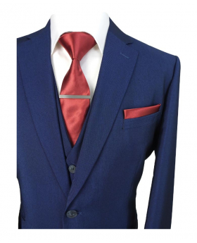 Mens & Boys Matching Slim Fit Royal Blue Wedding Business Suit
