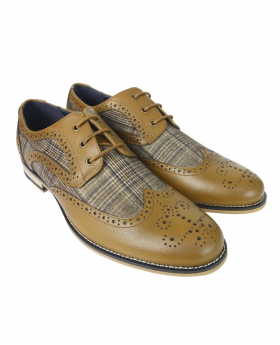Men's Tartan Textile and Leather Brogues in Tan Brown