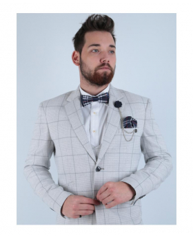 Men's Light Grey Double Breasted Waistcoat Retro Check Suit near view