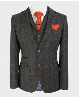 Closed view from the blazer jacket with shirt, waistcoat and tie of the Men's Herringbone Check Tweed Blazer in Grey